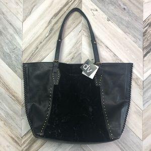 NWT DV Vegan Leather & Velvet Studded Tote Bag